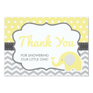 Elephant Thank You Card, EDITABLE COLOR Card