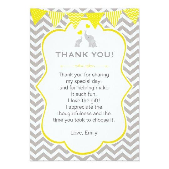 Elephant Thank You Card Note Yellow Grey Chevron