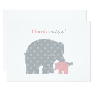 Elephant Thank You Flat Note Cards | Pink and Gray
