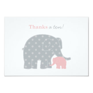 Elephant Thank You Flat Note Cards | Pink and Grey 9 Cm X 13 Cm Invitation Card