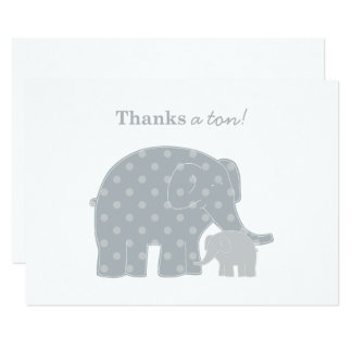 Elephant Thank You Flat Notes | Silver and Gray Card