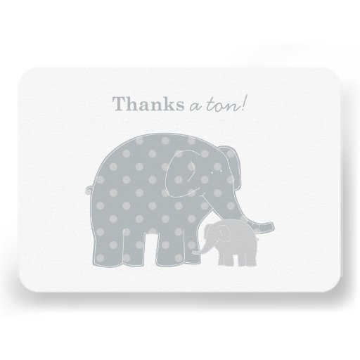 Elephant Thank You Flat Notes | Silver and Gray Custom Announcements