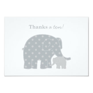 Elephant Thank You Flat Notes | Silver and Grey 9 Cm X 13 Cm Invitation Card