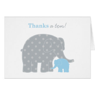 Elephant Thank You Note Card | Light Blue Gray