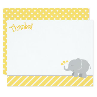 Elephant Thank You Note Cards | Yellow and Gray 11 Cm X 14 Cm Invitation Card