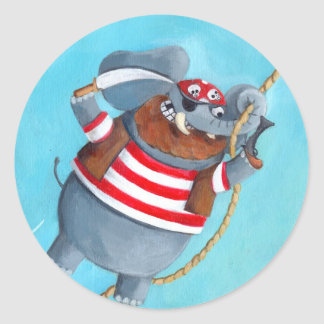 Elephant - The Best Pirate Animal Round Sticker