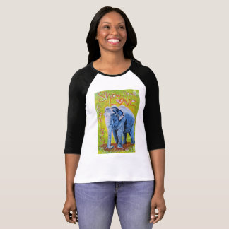 Elephant themed raglan sleeve shirt