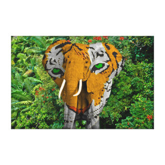 "Elephant Tiger Abstract 20"" x 16"", 1.5"" Canvas Stretched Canvas Print"