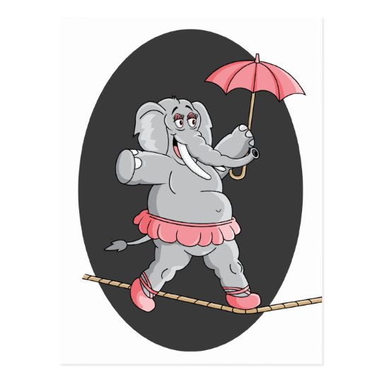 Elephant Tightrope Walker Postcard