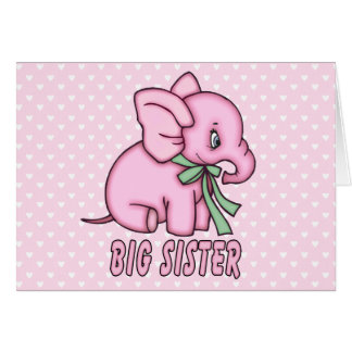 Elephant Toy Big Sister Stationery Note Card