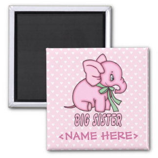 Elephant Toy Big Sister Refrigerator Magnets