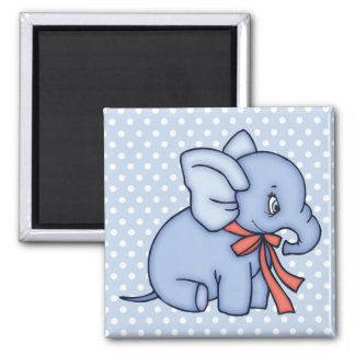 Elephant Toy Blue Square Magnet
