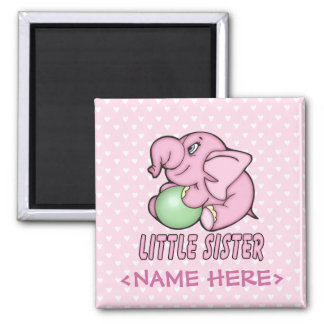 Elephant Toy Little Sister Square Magnet