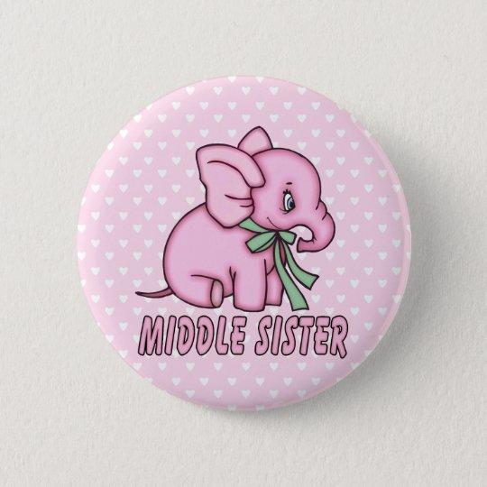 Elephant Toy Middle Sister 6 Cm Round Badge