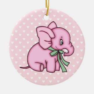 Elephant Toy Pink Christmas Ornament