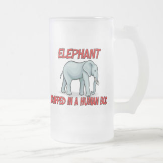 Elephant trapped in a human body frosted glass beer mug