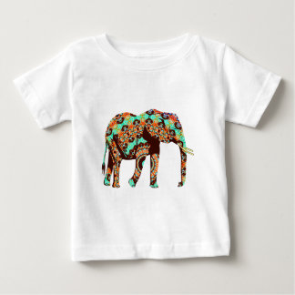 Elephant Tribal and Pop Fusion Watercolor Artwork Baby T-Shirt