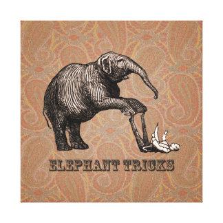 Elephant Tricks - Funny Circus Pachyderm Gallery Wrap Canvas