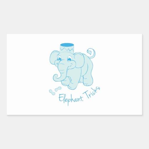 Elephant Tricks Rectangle Stickers