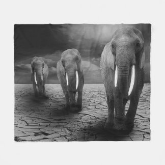 Elephant Trio Fleece Blanket