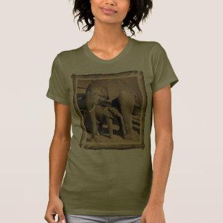 Elephant trunk framed elephant and calf T-Shirt