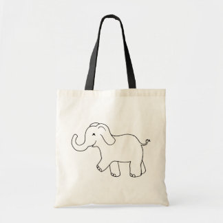 Elephant trunk up happy lucky cute simple art tote bag