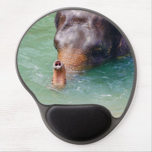 Elephant Trunk Up In Water, Animal Photography Gel Mouse Mat