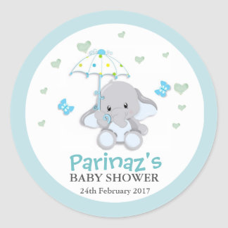 Elephant UmbrellaLove Blue Baby Shower Sticker Classic Round Sticker