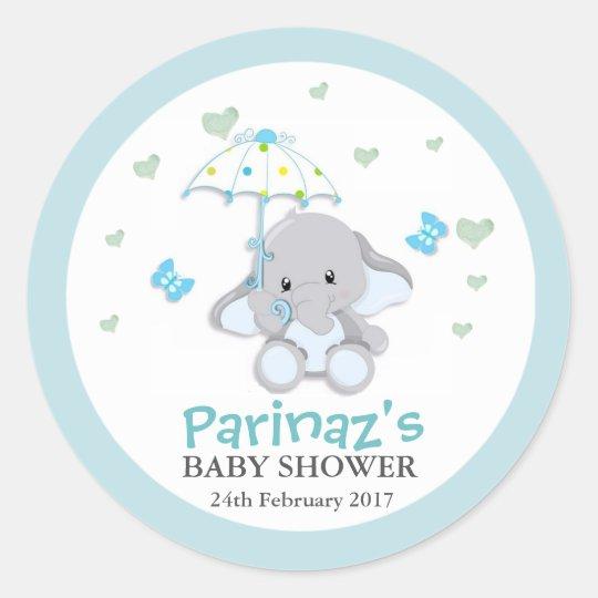 Elephant UmbrellaLove Blue Baby Shower Sticker Classic Round Sticker