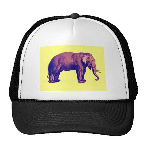 Elephant Vintage Illustration India Animal Antique Mesh Hats