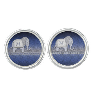 Elephant Walk Monogram Silver/Blue ID390 Cuff Links