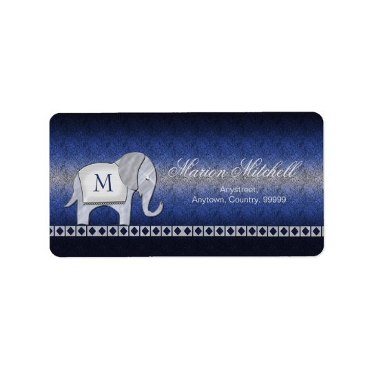 Elephant Walk Monogram Silver/Blue ID390 Label