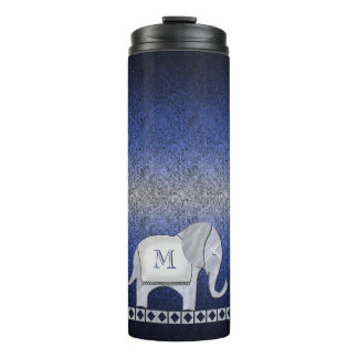 Elephant Walk Monogram Silver/Blue ID390 Thermal Tumbler