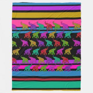 Elephant Walk & Stripes Pattern + your ideas Fleece Blanket