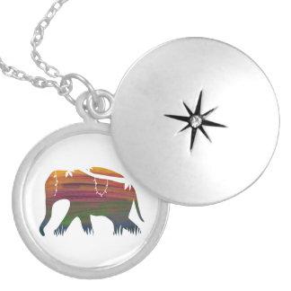 Elephant walking at Dawn Round Locket Necklace