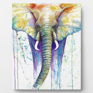 Elephant watercolor art plaque