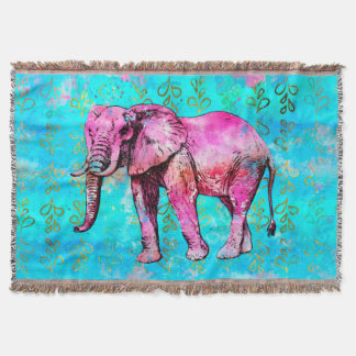 Elephant Watercolor Pink Blue Trendy Throw Blanket