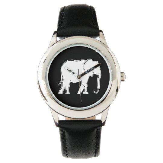 Elephant White Silhouette Elegant Minimal Stylish Watch