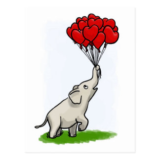 Elephant with Balloons Post Card