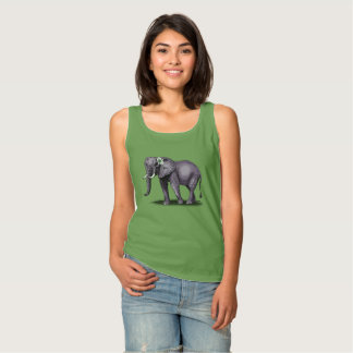 elephant with flower tank top