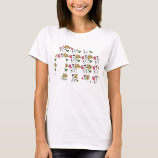 Elephant with handdrawn flowers pattern T-Shirt