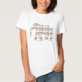 Elephant with handdrawn flowers pattern t-shirts
