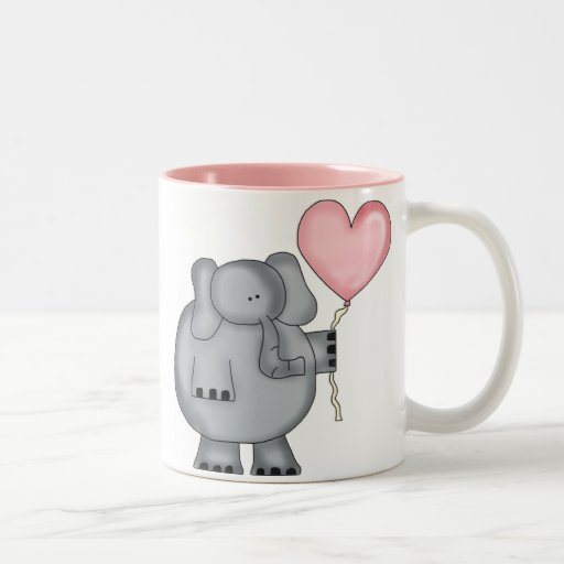 Elephant with Heart Balloon Coffee Mug