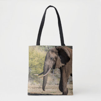 Elephant with Long Tusks Tote Bag
