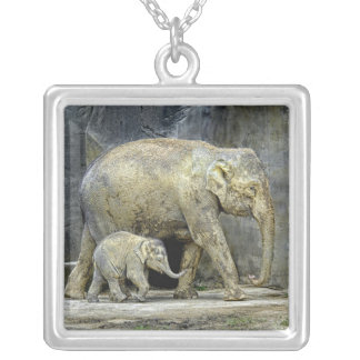 Elephant with Newborn Necklace