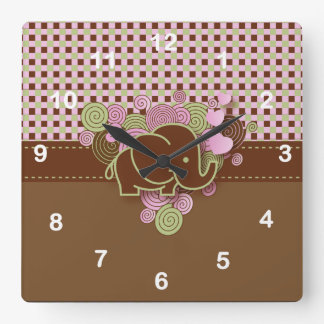 Elephant with Pink & Brown Plaid Background Wall Clocks