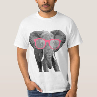 Elephant with Pink Glasses Cute Funny T-shirt