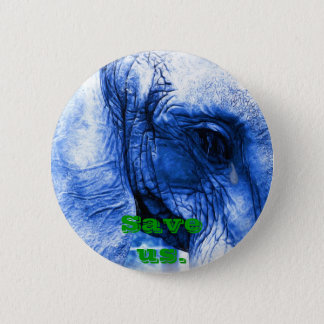 Elephant with tear 6 cm round badge