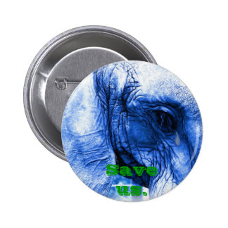 Elephant with tear pinback button