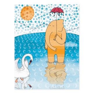Elephant with umbrella postcards